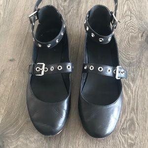 Rebecca Minkoff Black Ankle Strap Grommet Flats